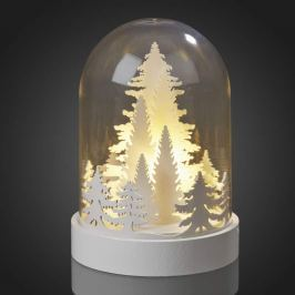 Stilvolle LED-Glocke mit weißen Tannenbäumen