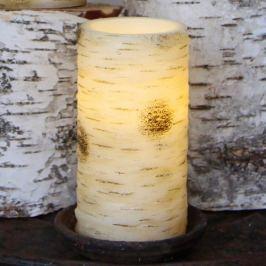 Große LED-Kerze Anjuli in Birkenoptik 15 cm