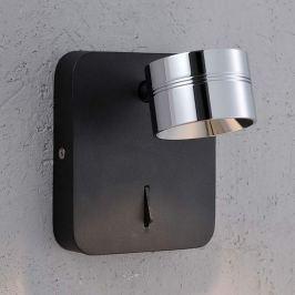 Schwarze LED-Wandleuchte Vidda, Schirm verchromt