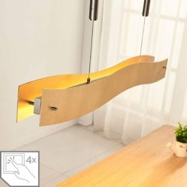 Goldene LED-Pendelleuchte Ebu, dimmbar