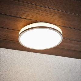 Runde LED-Deckenlampe Lyss mit Chromrand, IP44