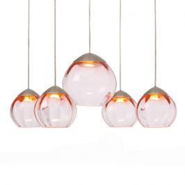 Runde LED-Hängelampe Soft 5-flg., Gläser rosa