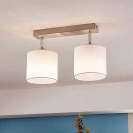 2-flammige LED-Deckenlampe mit Stoffschirmen