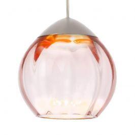 Glas-Pendellampe Soft mit rosafarbenem Schirm 15cm