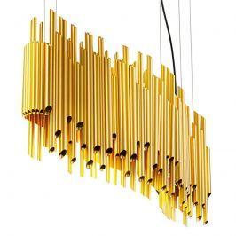Goldfarbene Hängeleuchte Organo mit Orgelpfeifen