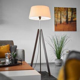 Holz-Stehlampe Thea mit champagnerfarbenem Schirm