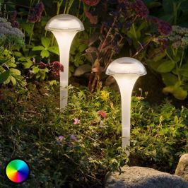 Bunt leuchtende LED-Solarlampe Assisi m. Erdspieß