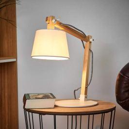 Holz-Tischlampe Olly mit weißem Schirm