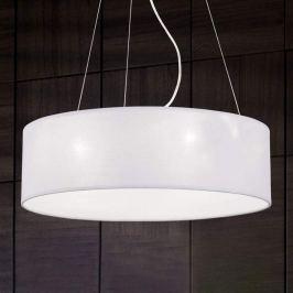 Runde Textil-Pendelleuchte Ufo mit weißem Schirm