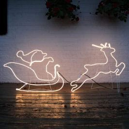 Schlitten m. Weihnachtsmann - Silhouette NeoLED