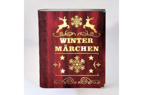 Rote LED-Dekoleuchte Wintermärchen in Buch-Design