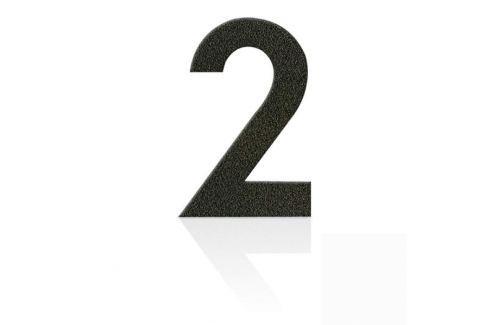 Edelstahl Hausnummern Ziffer 2, mokkabraun