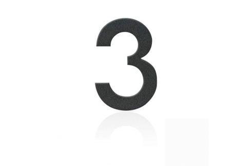 Edelstahl Hausnummern Ziffer 3, grafitgrau