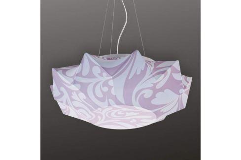 Gemusterte Textil-Hängeleuchte Art 60 cm, lila