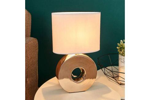 Goldener Keramikfuß - Tischlampe Eye 38 cm