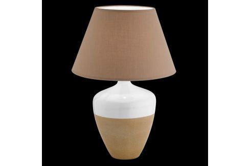 Braun-weiße Tischlampe Derby m. Keramikfuß